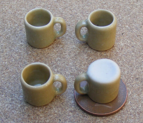 Échelle 1:12 4 Light Brown ceramic mugs tumdee Maison De Poupées Cuisine Accessoire Br39