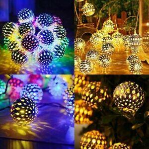 20 30 50 LED Moroccan Solar Garden String Lights Hanging Lantern Fairy Lights UK