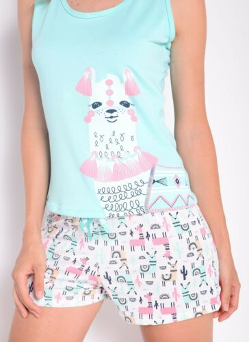 Women/'s cute Llama print tank top in mint and shorts Pajama set
