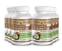 Fat Burner Pills - Coconut Oil Capsules - Healthy Hair - 6 Bottles 360 Softgels
