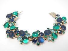D&E Juliana Gripoix Frosted Blue Emerald Glass Cabochon Rhinestone Vtg Bracelet