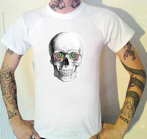 Psychedelic eyes Skull T-Shirt WTF Clubbing goth punk Death