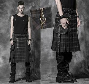 Man-skirt-Kilt-gothic-punk-grunge-plaid-tartan-pleated-pocket-fashion-Punkrave