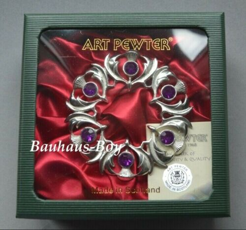 Art Pewter PLAID BROOCH THISTLES 6 FAUX AMETHYST STONES MADE IN SCOTLAND BOXED