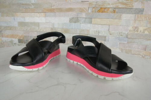 Prada Size 37 Sandals 3X6022 Shoes Black Touch Fastener Pink New Previously 8058982195070