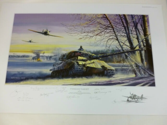 Typhoon Target Remarque by Robert Bailey German King Royal Tiger Tank 12 signers