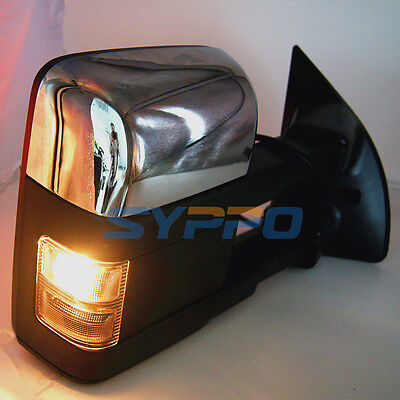 SMOKE Chrome 99-07 Ford SuperDuty F250-F550 Power Heated Turn Signal TOW Mirrors