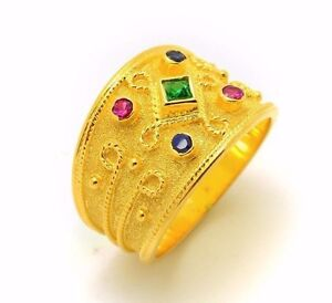 Wide-Etruscan-Silver-Gold-Plated-Princess-Cut-Emerald-Ring-Greek-Multi-Stone