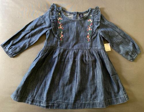 Toddler Girl Size 3T Baby Gap Floral Stitch Dark Denim Long Sleeve Ruffle Dress