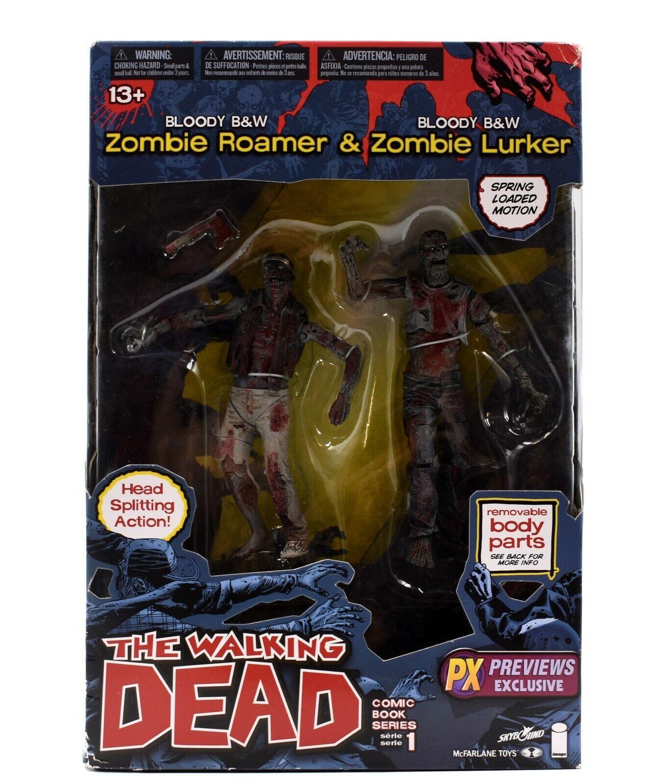 The Walking Dead Comic Book Series 1 - Bloody B&W Zombie Roamer & Lurker 2-Pack