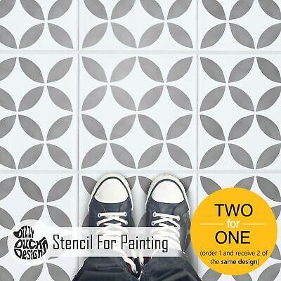 LEKSAND Nordic Geometric Tile Stencil for Bathroom Kitchen Patio Walls Floor