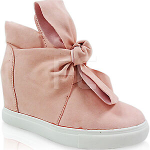 NEW WOMENS LADIES KNOT BOW MID HIGH HIDDEN WEDGE TRAINERS PUMPS SHOES SIZE HI