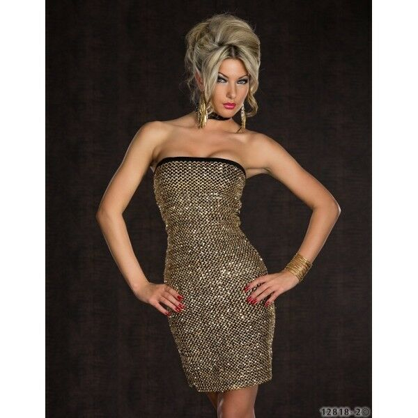 592 GORGEOUS PARTY STRAPLESS STRETCH EVENING BODYCON gold DRESS SIZE 8 10  10 12