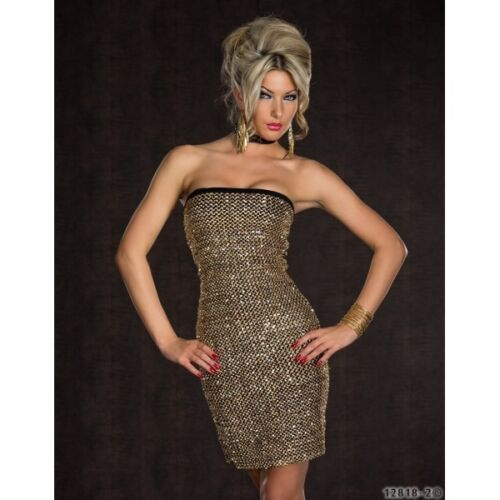 GORGEOUS PARTY STRAPLESS STRETCH EVENING BODYCON GOLD DRESS SIZE 8//10  10//12 592