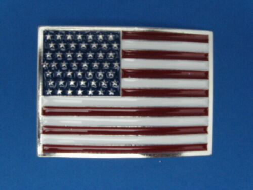 NEW OLD STOCK PATRIOTIC USA PEWTER STYLE FLAG METAL BELT BUCKLE MADE IN USA #118