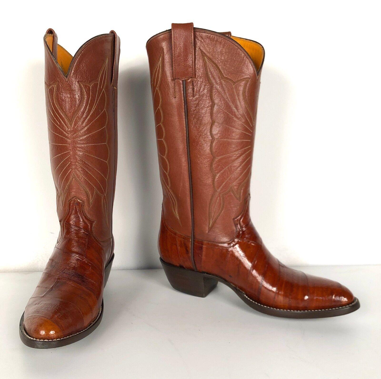 Jose Sanchez stivali, 7D Men's Cognac Eel Exotic Cowboy stivali
