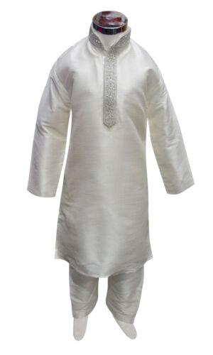 Boys Indian kurta with Salwar sherwani in white silk Bollywood theme party 848