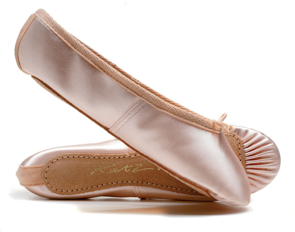 Wide Fitting Pink Satin full sole ballet shoes All sizes By Katz Dancewear