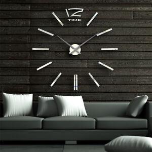 Das Bild Wird Geladen Design Wand Uhr Wohnzimmer Wanduhr  Spiegel Edelstahl Wandtattoo