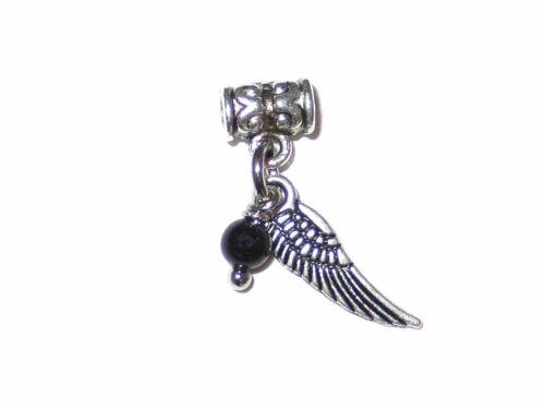 Schmuck-Anhänger Flügel mit schwarzem Turmalin an Perle mit Öse für DIY Handmade