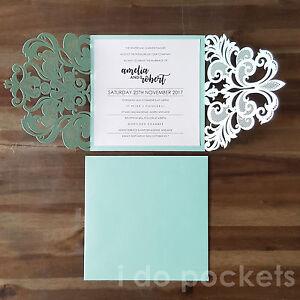 Image Is Loading Tiffany Blue Laser Cut Wedding Invitations Diy Invite