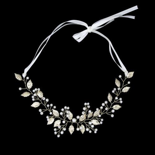 Bride Leaf Headband Pearl Hairpins Tiaras Headpiece Party Wedding  Hair JeweRSDE