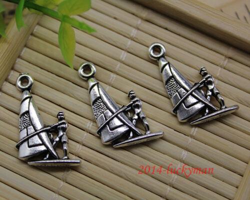 20//60//100pcs Retro À faire soi-même Jewelry Making Small Sailing Alliage Charms Pendentif 22x14mm