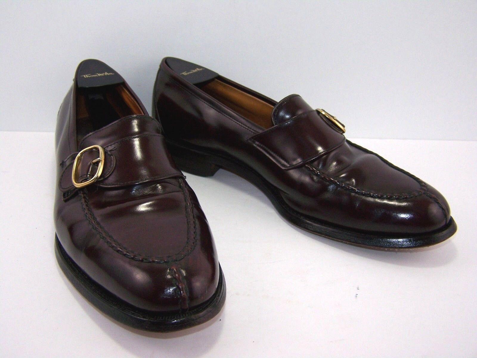 ALLEN EDMONDS Rawlins Mens Loafer Monk Strap shoes Size 10 Burgundy Apron Split