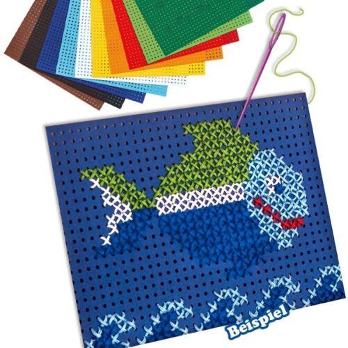 Nadeln und Garn plus Vorlagen Stickset mit Karton Bastelset für Kids