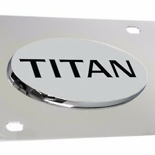 Fits. Nissan Titan Chrome 3D Emblem Front License Plate - Officially Licensed