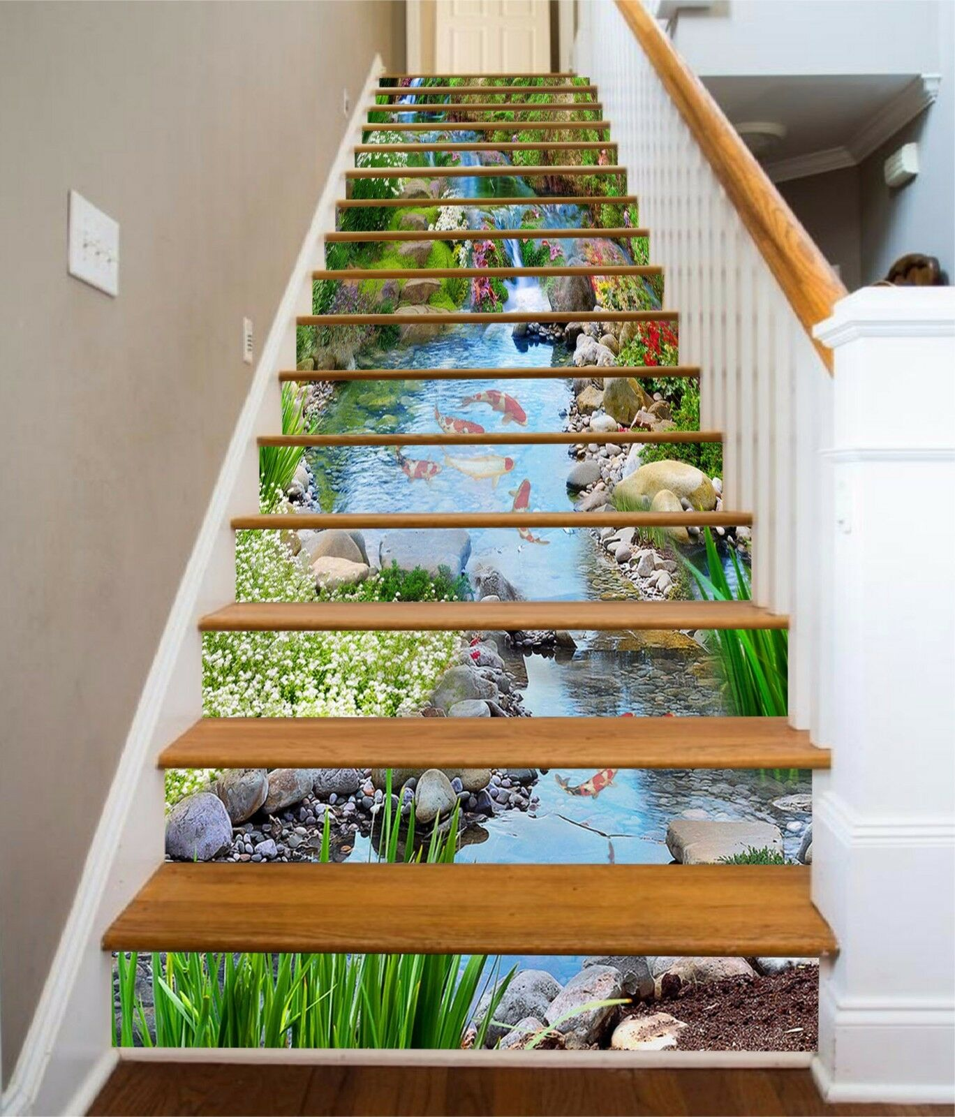 3D Lawn creek 7 Stair Risers Decoration Photo Mural Vinyl Decal Wallpaper UK