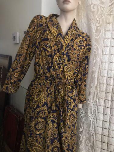 1950s Smoking Robe / Mens Rayon Robe w/ Waist Tie