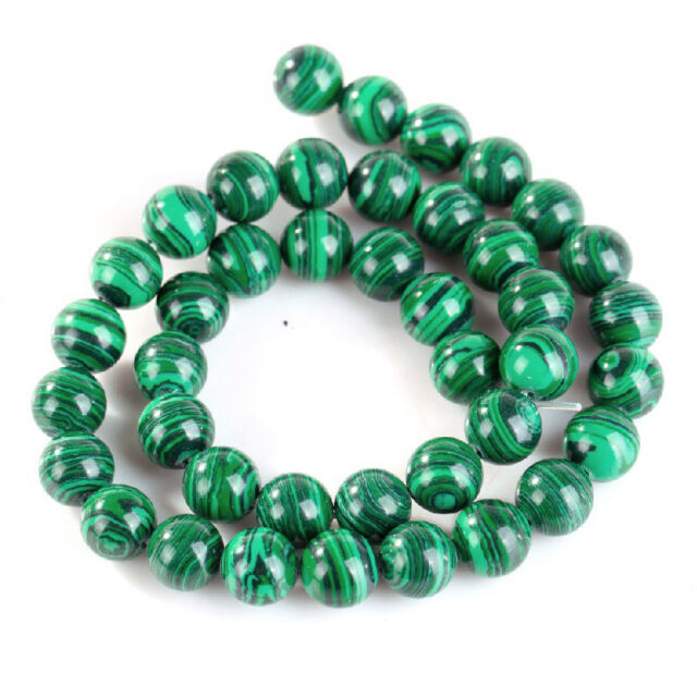 Natural Malachite Gemstone Round Loose Spacer Beads 15.5'' Strand 4-20MM