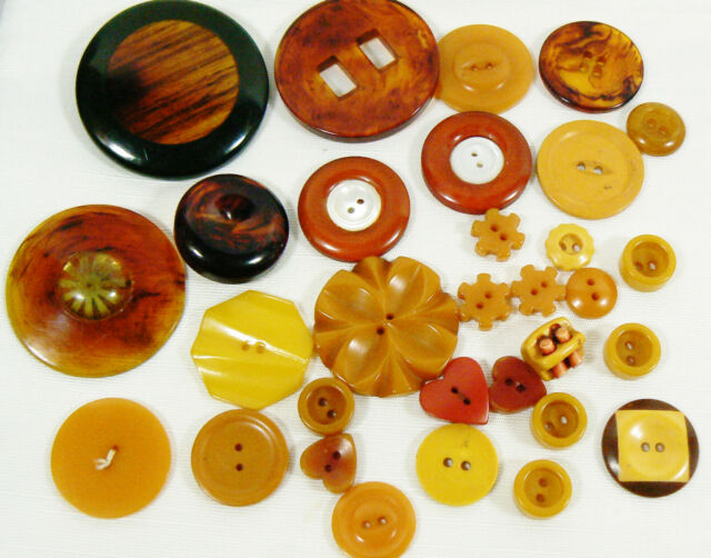 VTG Mix Lot of 31 assorted color brown orange size all bakelite carved buttons