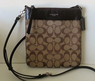 Coach Signature North South Swingpack Khaki/Mahogany Brown F50808