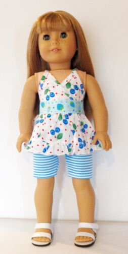 "Arianna Berry Cute Short Set and Sandals Fits 18/"" American Girl Dolls"