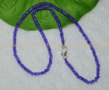 Fine 2x4mm Amethyst Faceted Roundel Gems Beads Necklace Silver Clasp AAA