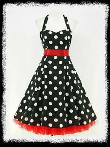 dress190-CHIFFON-BLACK-POLKA-DOT-50-039-s-PINUP-ROCKABILLY-SWING-PROM-DRESS-UK-8-26