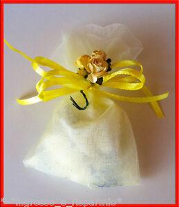 Segnaposto Matrimonio Giallo.Sacchettino Giallo Tulle Confetti Fiorellini Segnaposto