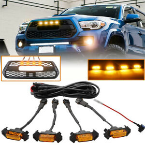 4PCS-LED-Amber-Grille-Lights-yellow-For-Toyota-Tacoma-TRD-PRO-2016-2018-2020-EA