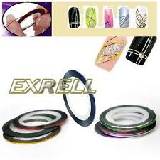 18 Rotoli Nastro Adesivo Fili Striping 18 Colori Misti Nail Art Unghie Tips