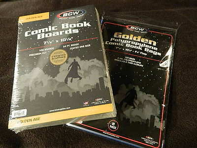 Acid Free Backer Boards 100 BCW RESEALABLE Golden Age Comic Book Poly Bags