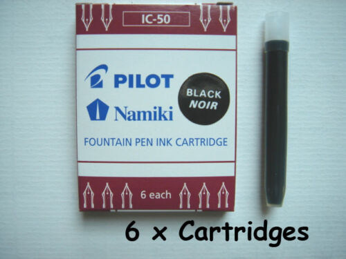 6 x PILOT Namiki Fountain Pen Ink Cartridge Refills IC-50 BLACK