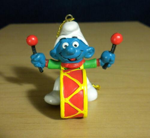 Smurfs Christmas Drummer Smurf 51908 Ornament Vintage Figure Toy PVC Figurine