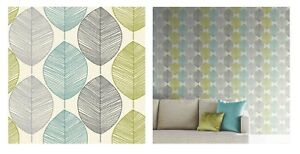 Arthouse Retro Leaf Motif Teal Green Grey Lime Wallpaper 408207