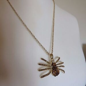 LARGE DIAMANTE GOTHIC STEAMPUNK SPIDER AMBER GOLD COLOUR PENDANT NECKLACE new