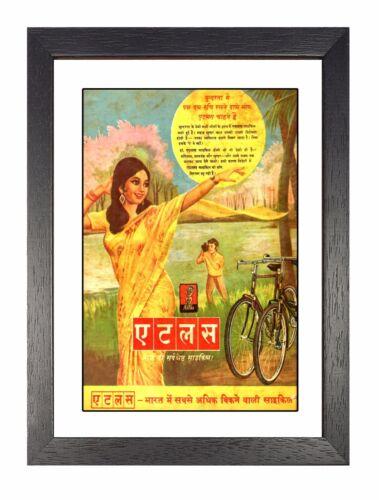 Atlas Cycles Vintage Cycling Propaganda Saree Advert in Hindi Print Old Poster