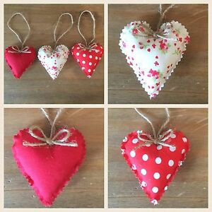 Remarkable Details About Set Of 3 Shabby Chic Hanging Fabric Padded Love Hearts Hanging Hearts Home Interior And Landscaping Ponolsignezvosmurscom