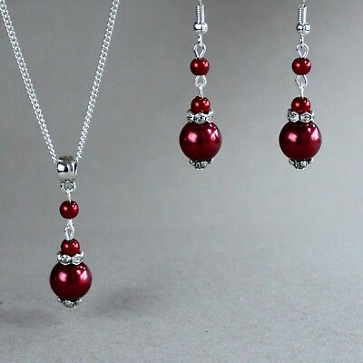 Wine Red Silver Pearl Necklace Earrings Wedding Bridesmaid Bridal
