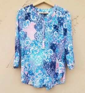 NYDJ-Petites-Womens-Pintuck-Henley-Blouse-Top-Shirt-Size-PXS-Blue-3-4-Sleeve